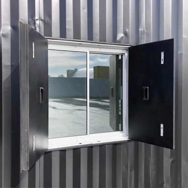 Shutter and glazing unit installed