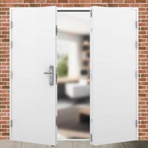 External view of an outward opening double personal access door