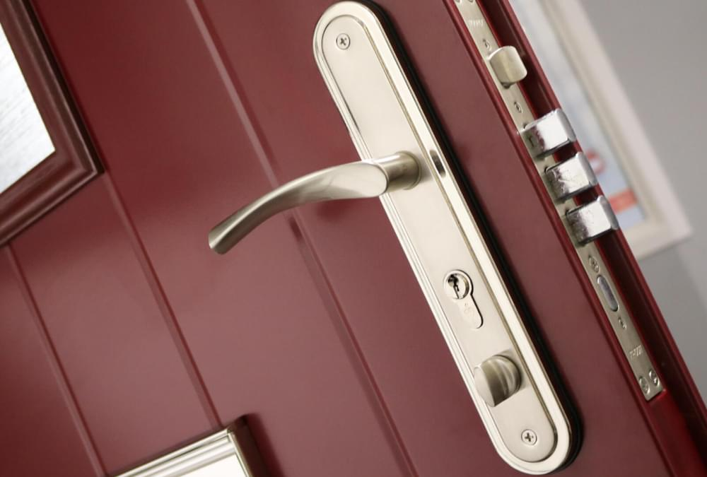 Close up of front door handle and lock